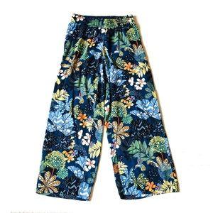 Ann Taylor Loft Floral Hummingbird Wide Pants XS